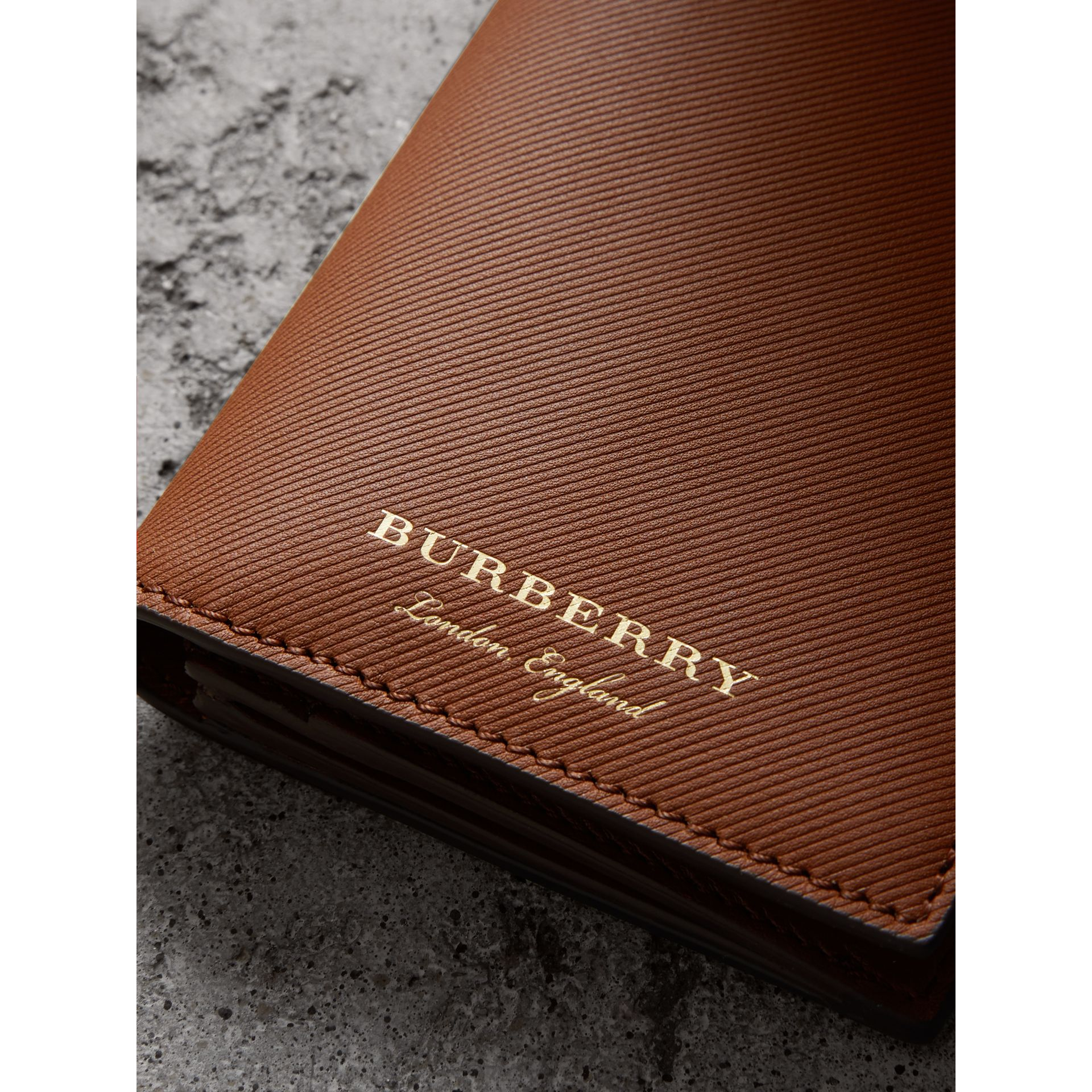 Trench Leather Continental Wallet in Tan - Men | Burberry - gallery image 2