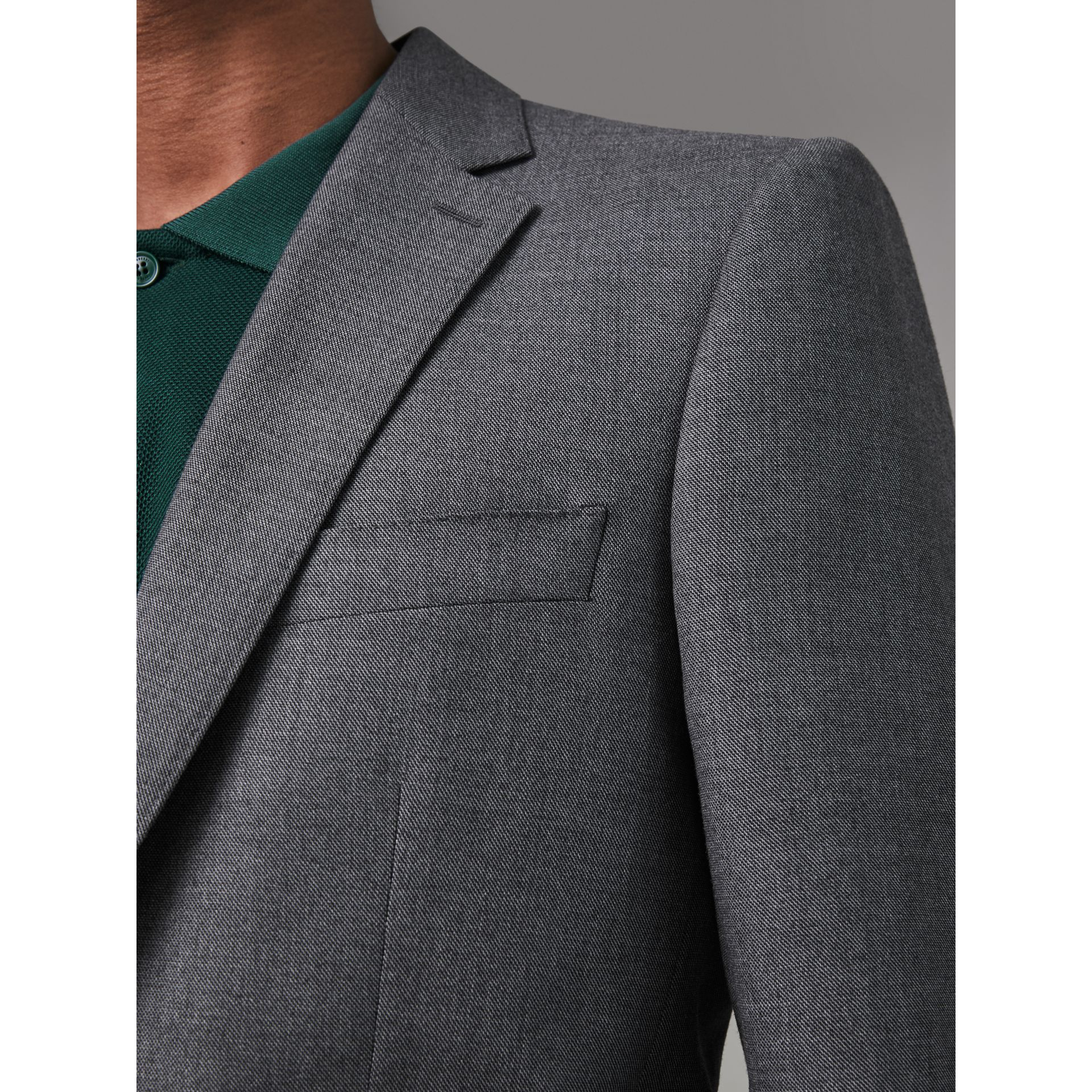 Modern Fit Sharkskin Wool Suit in Mid Grey Melange - Men | Burberry - gallery image 1