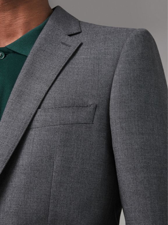 Classic Fit Sharkskin Wool Suit in Mid Grey Melange - Men | Burberry Singapore - cell image 1
