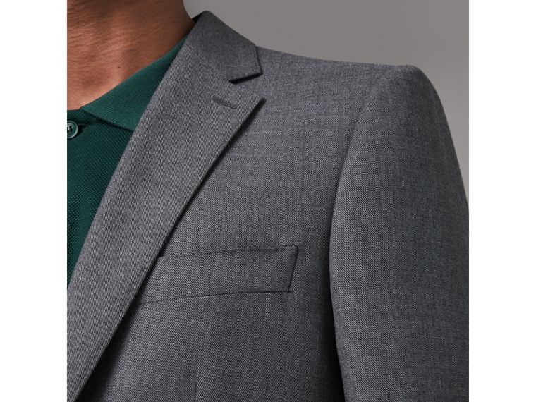 Modern Fit Sharkskin Wool Suit in Mid Grey Melange - Men | Burberry Canada - cell image 1