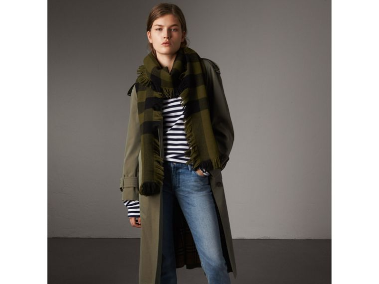 Fringed Check Wool Scarf in Military Green | Burberry - cell image 2