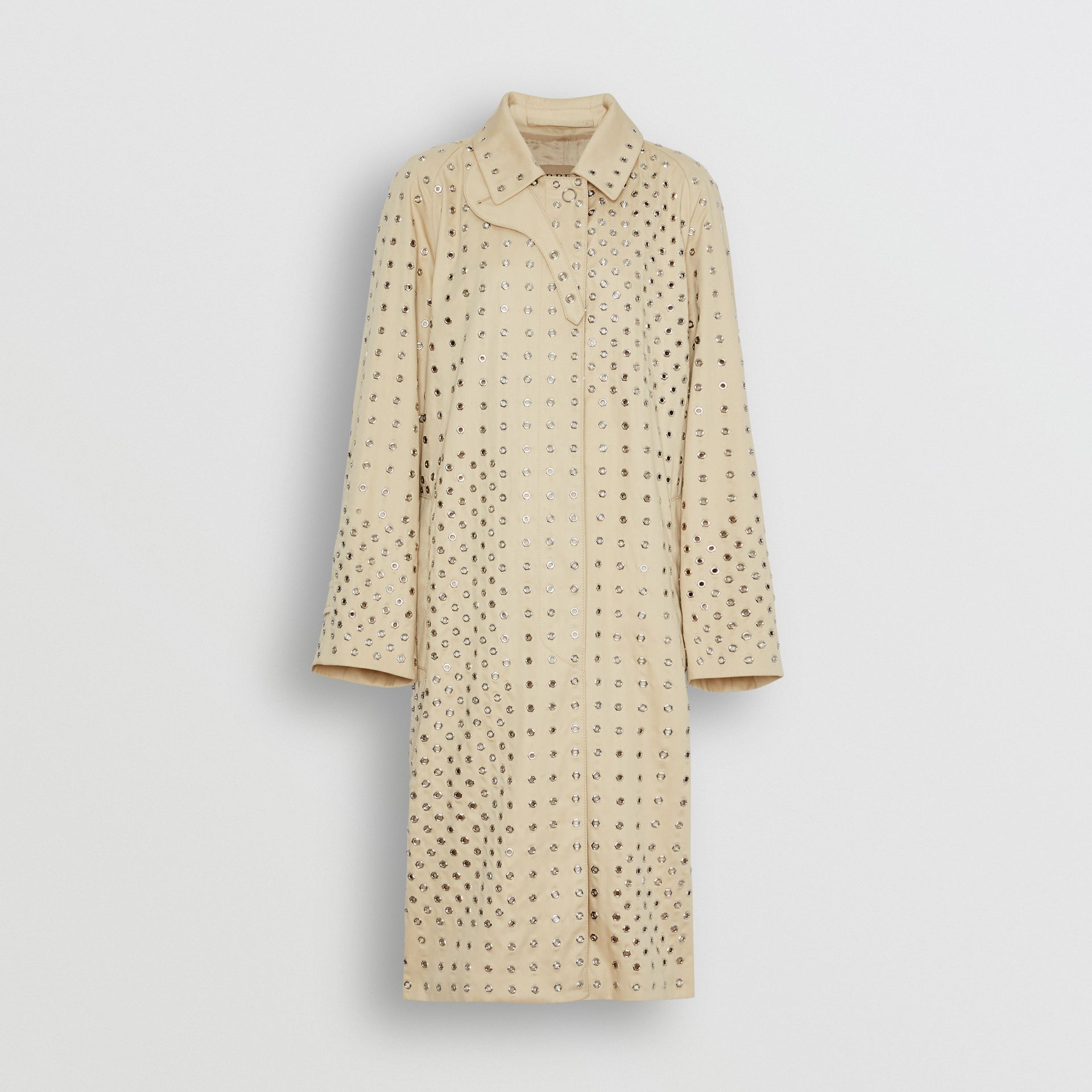 Eyelet Detail Cotton Car Coat in Light Beige - Women | Burberry - gallery image 3