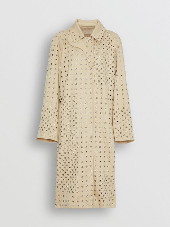 Eyelet Detail Cotton Car Coat in Light Beige