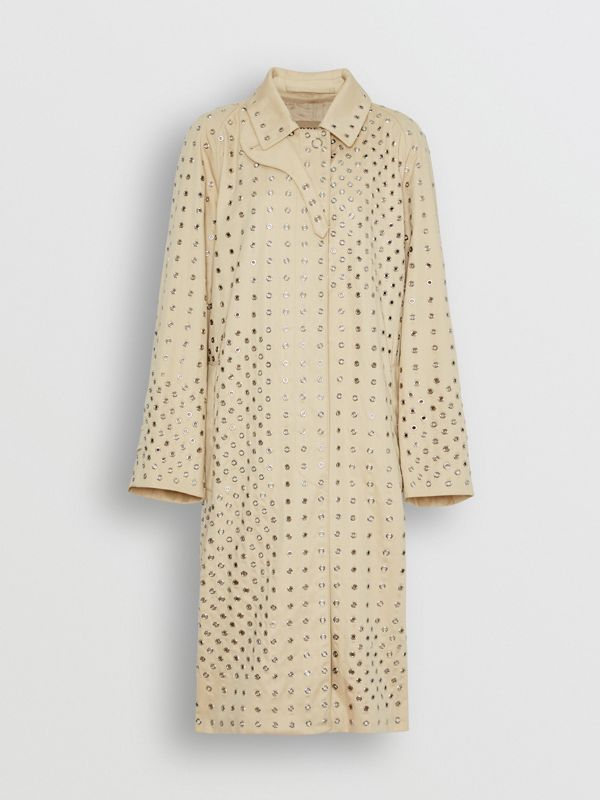 Eyelet Detail Cotton Car Coat in Light Beige - Women | Burberry - cell image 3