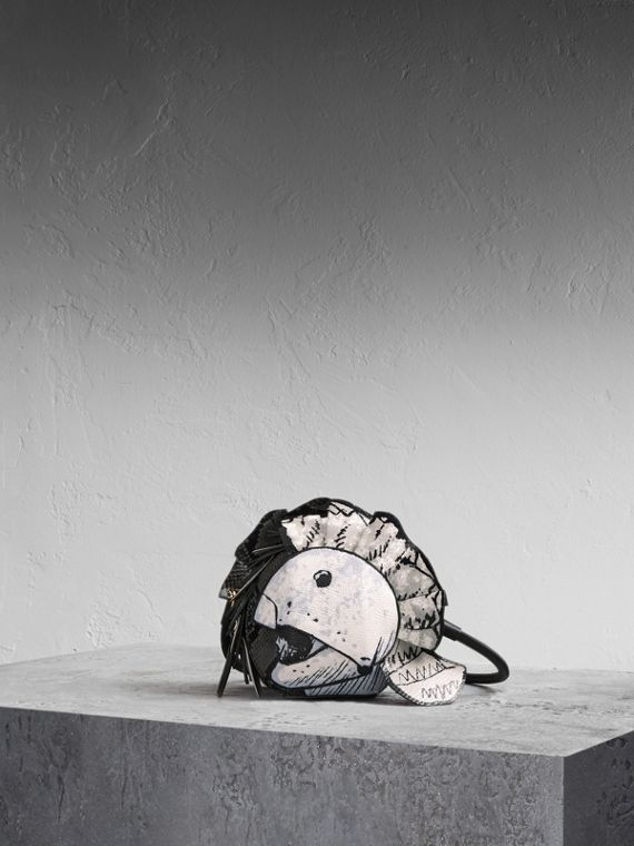 Leather and Snakeskin Pallas Helmet Shoulder Bag - Women | Burberry