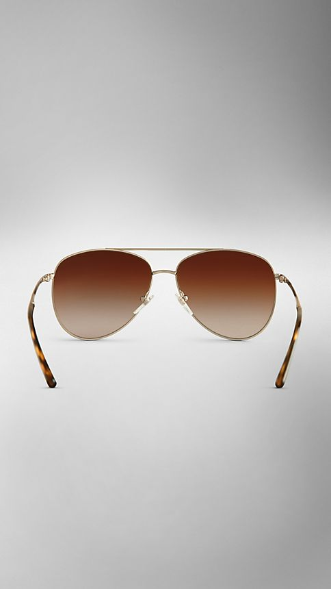 Pale gold Check Arm Aviator Sunglasses - Image 3