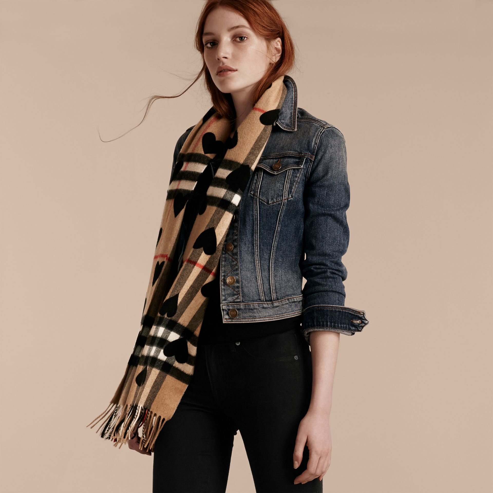 Black The Classic Cashmere Scarf in Check and Hearts Black - gallery image 3