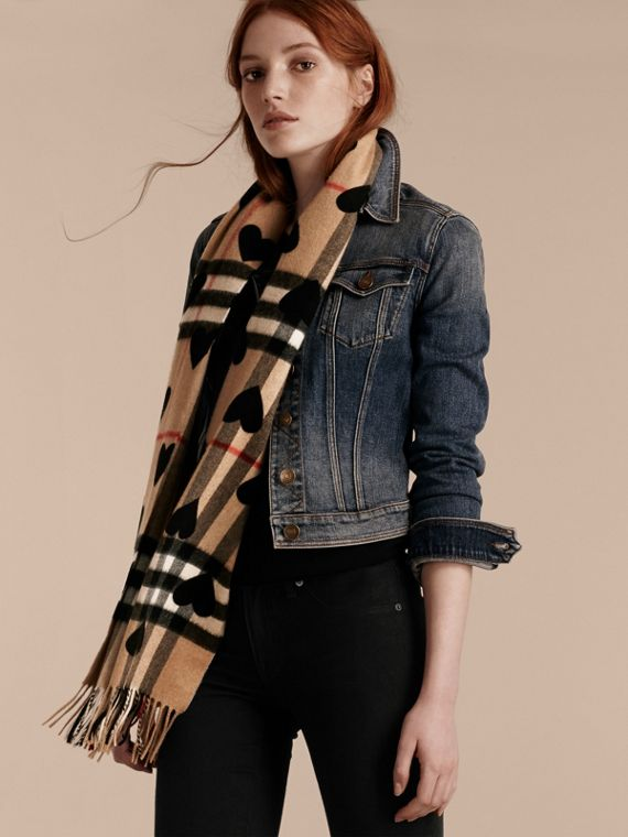 Black The Classic Cashmere Scarf in Check and Hearts Black - cell image 2