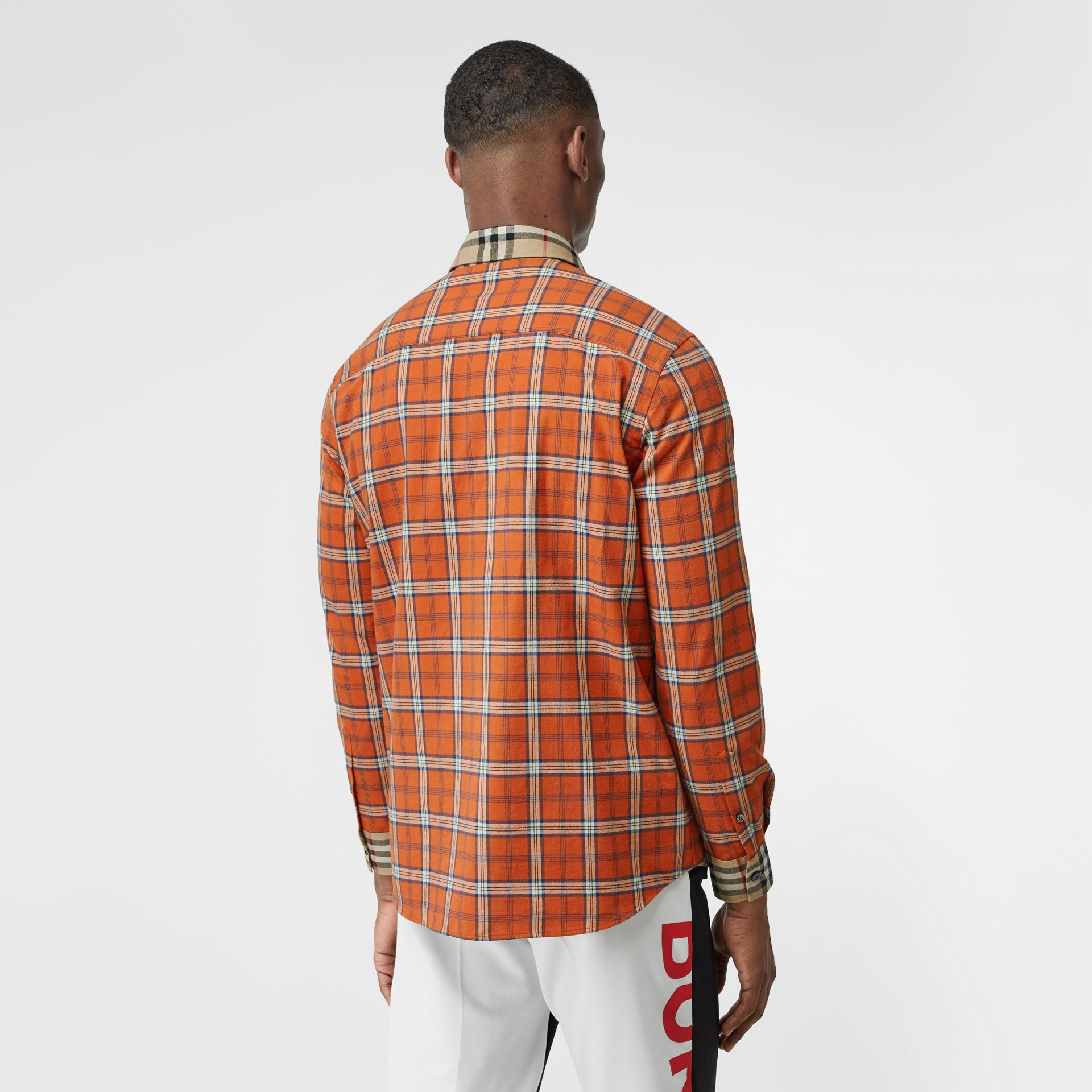 Contrast Check Cotton Flannel Oversized Shirt in Orange - Men | Burberry - gallery image 2