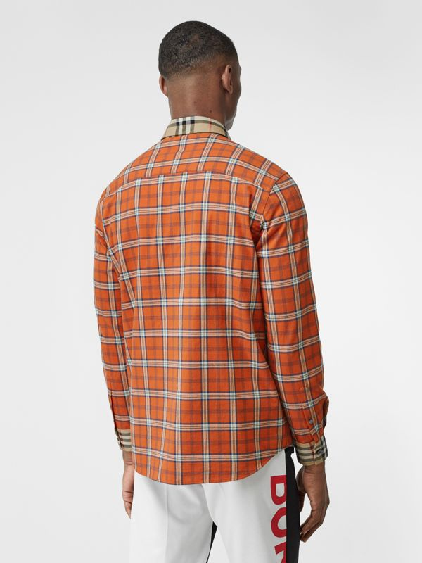 Contrast Check Cotton Flannel Oversized Shirt in Orange - Men | Burberry - cell image 2