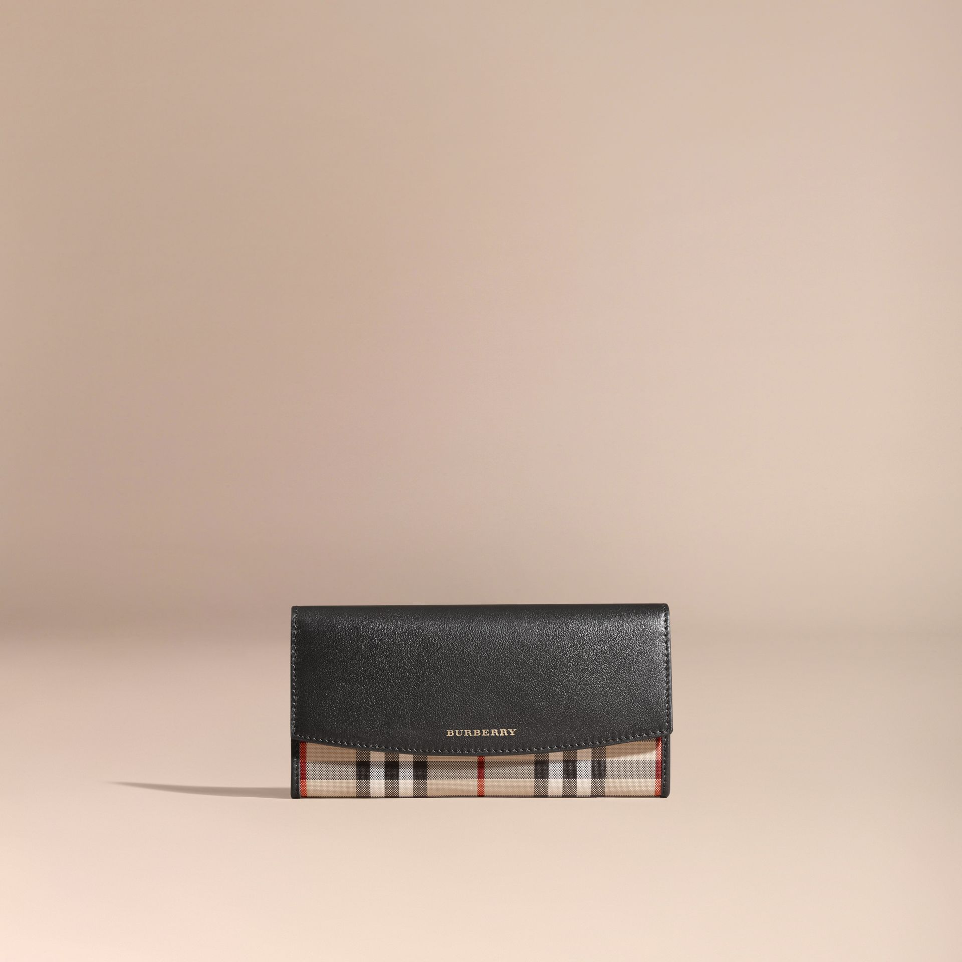 Horseferry Check and Leather Continental Wallet in Black - gallery image 6