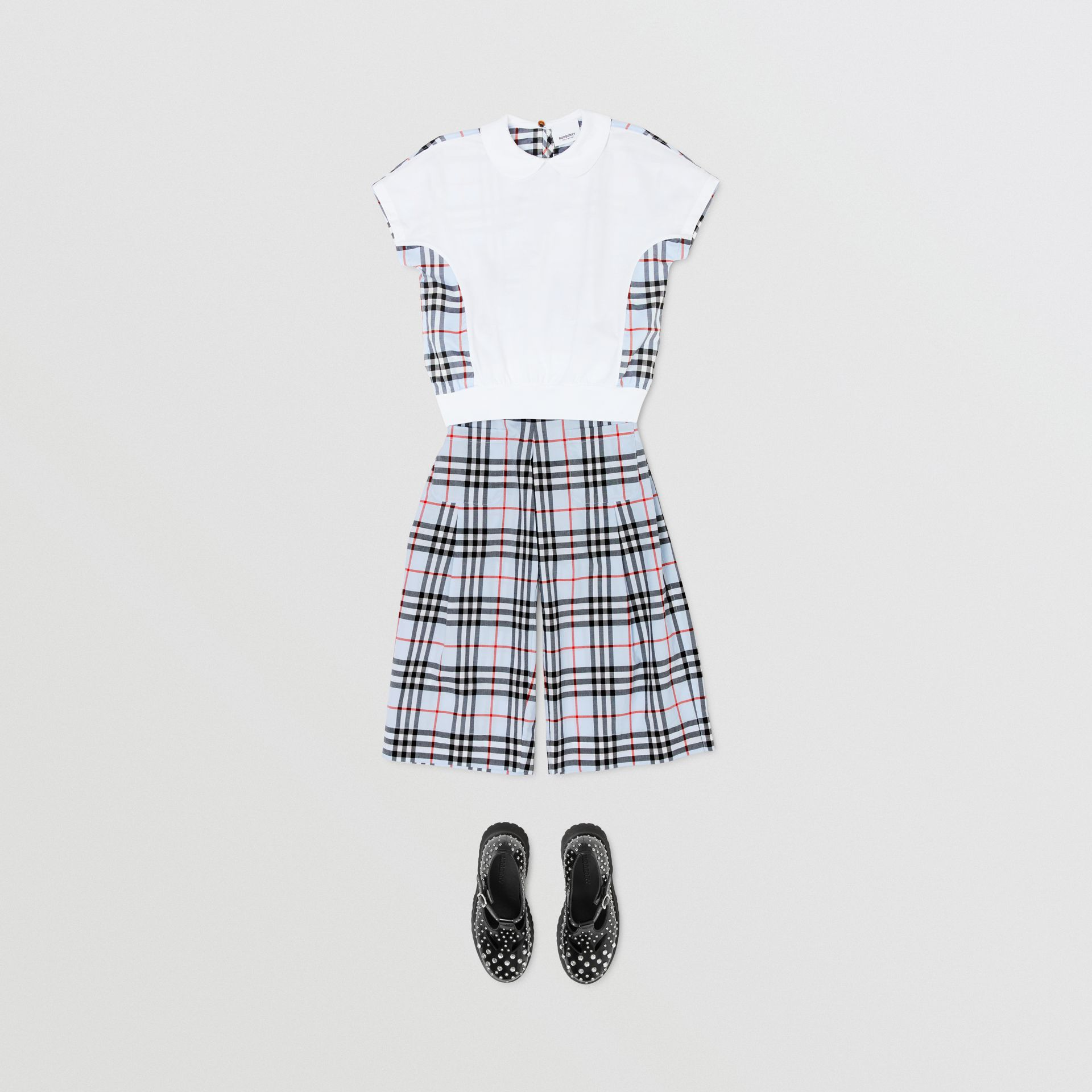Check Panel Cotton Top in White | Burberry - gallery image 2