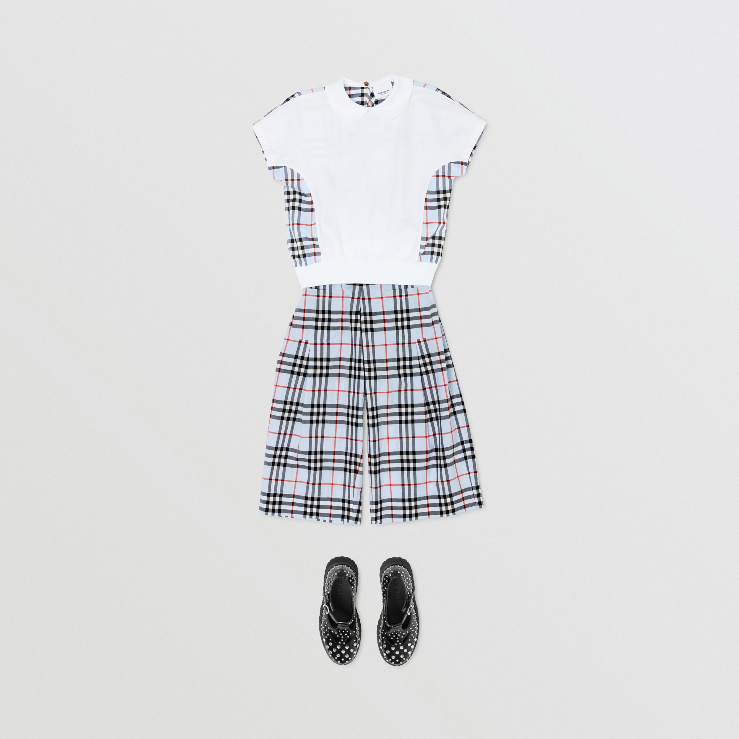 Check Panel Cotton Top in White - Children | Burberry Hong Kong S.A.R. - 3