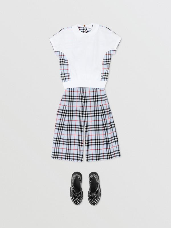 Blusa de algodão com recorte xadrez (Branco) | Burberry - cell image 2