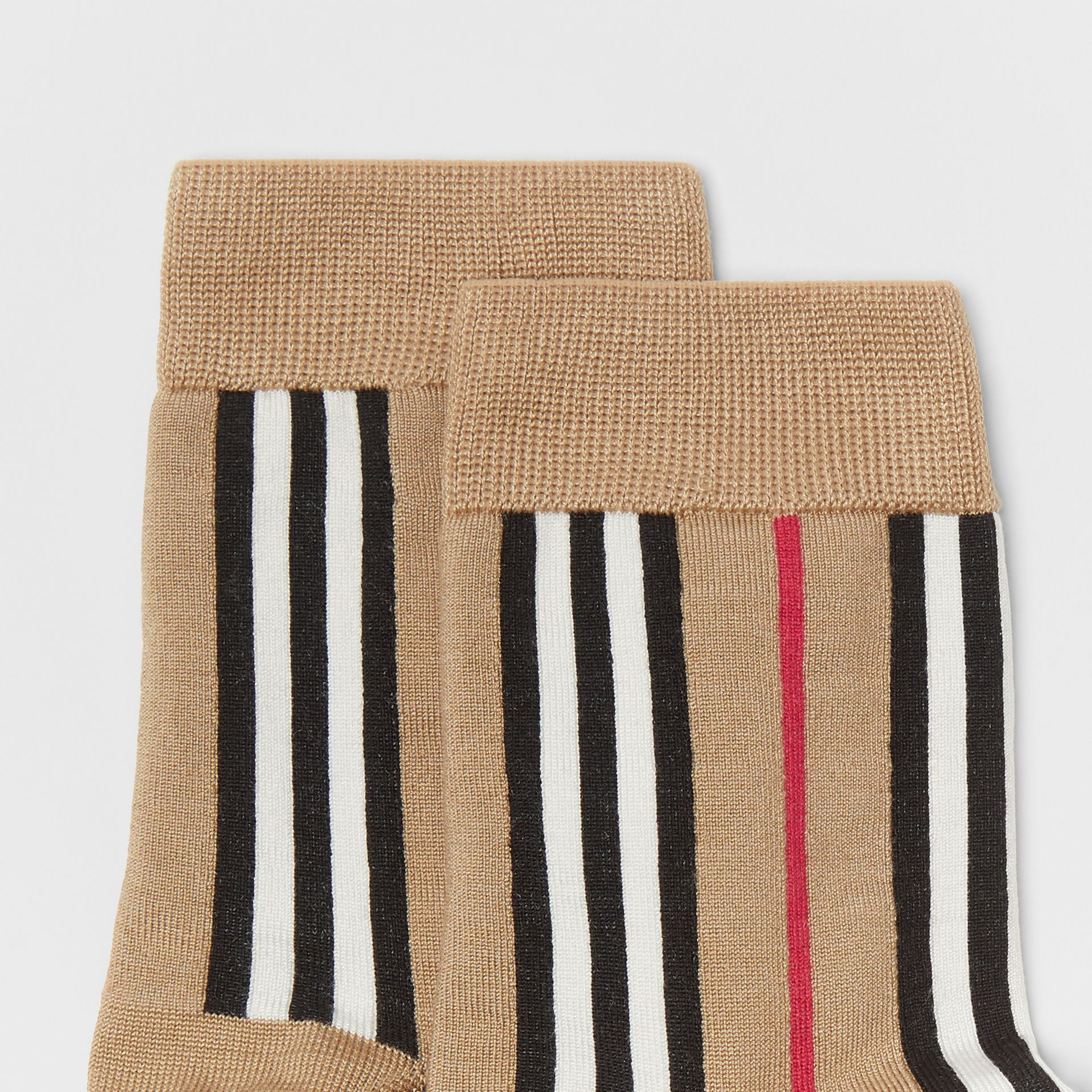 Icon Stripe Intarsia Ankle Socks in Archive Beige | Burberry - gallery image 1