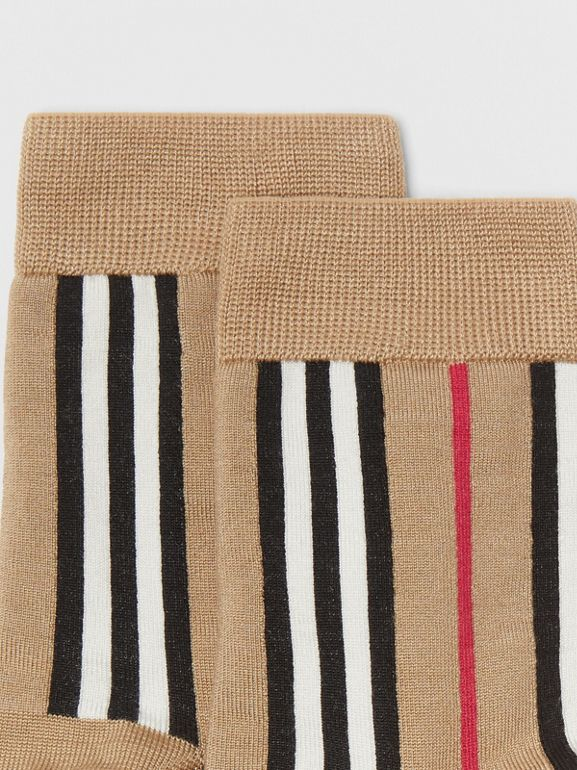 Icon Stripe Intarsia Ankle Socks in Archive Beige | Burberry - cell image 1