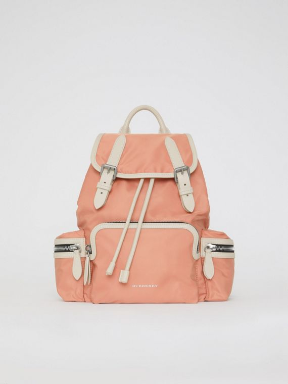 The Medium Rucksack in Technical Nylon and Leather in Pink