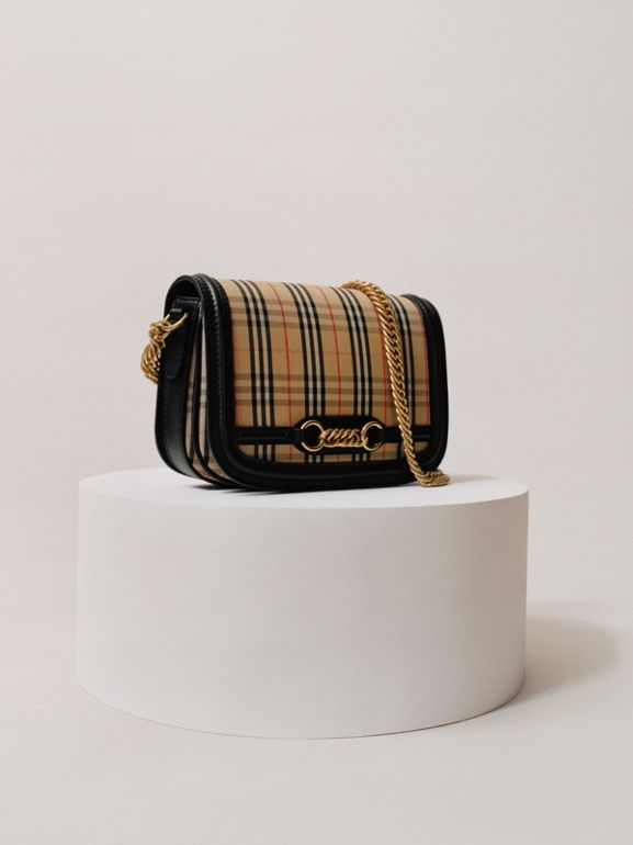 The 1983 Check Link Bag with Leather Trim in Black - Women | Burberry - cell image 1