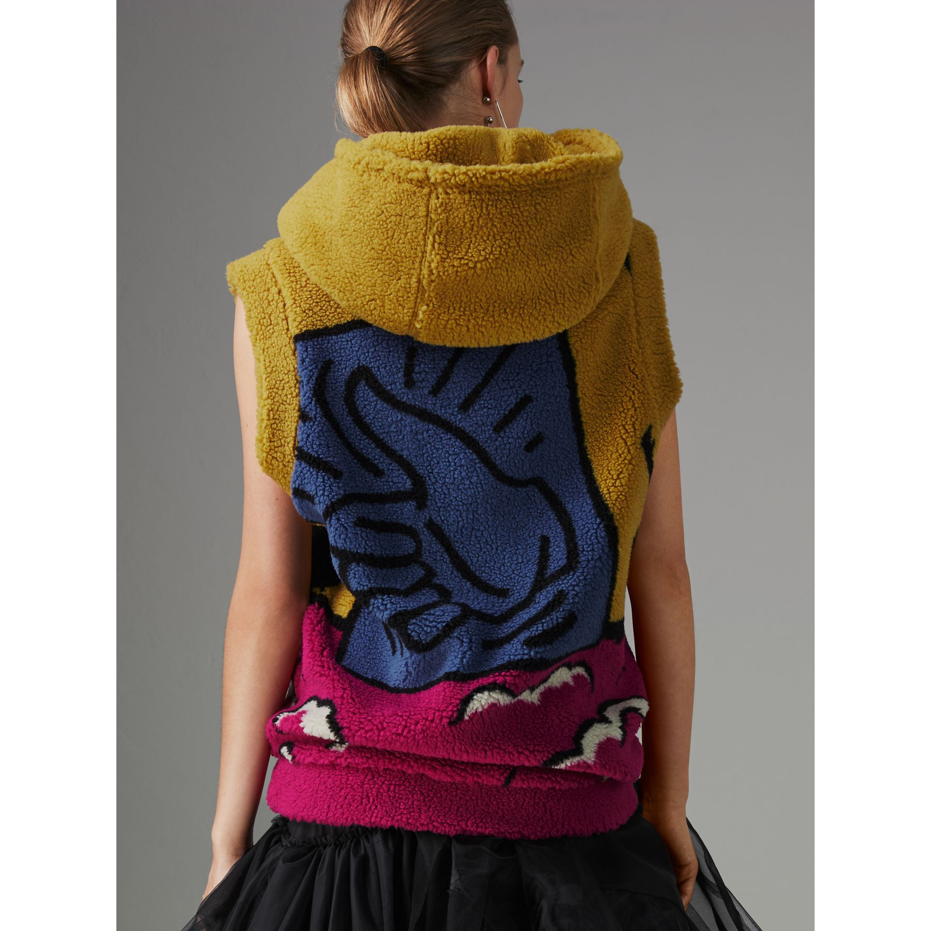 Poster Graphic Fleece Jacquard Sleeveless Hoodie in Bright Pink - Women | Burberry - gallery image 2