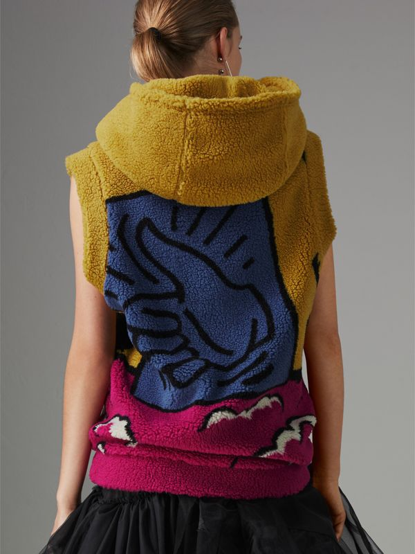 Poster Graphic Fleece Jacquard Sleeveless Hoodie in Bright Pink - Women | Burberry - cell image 2