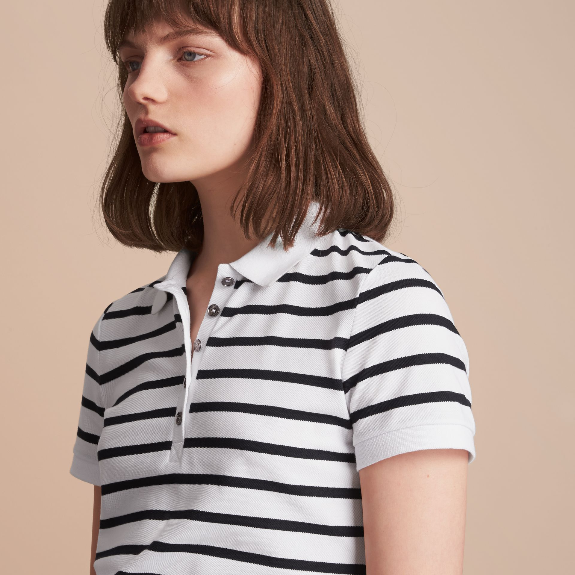 Striped Stretch Cotton Piqué Polo Shirt in White/navy - Women | Burberry - gallery image 5