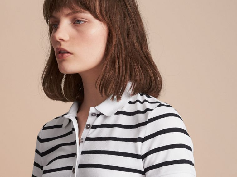 Striped Stretch Cotton Piqué Polo Shirt in White/navy - Women | Burberry - cell image 4