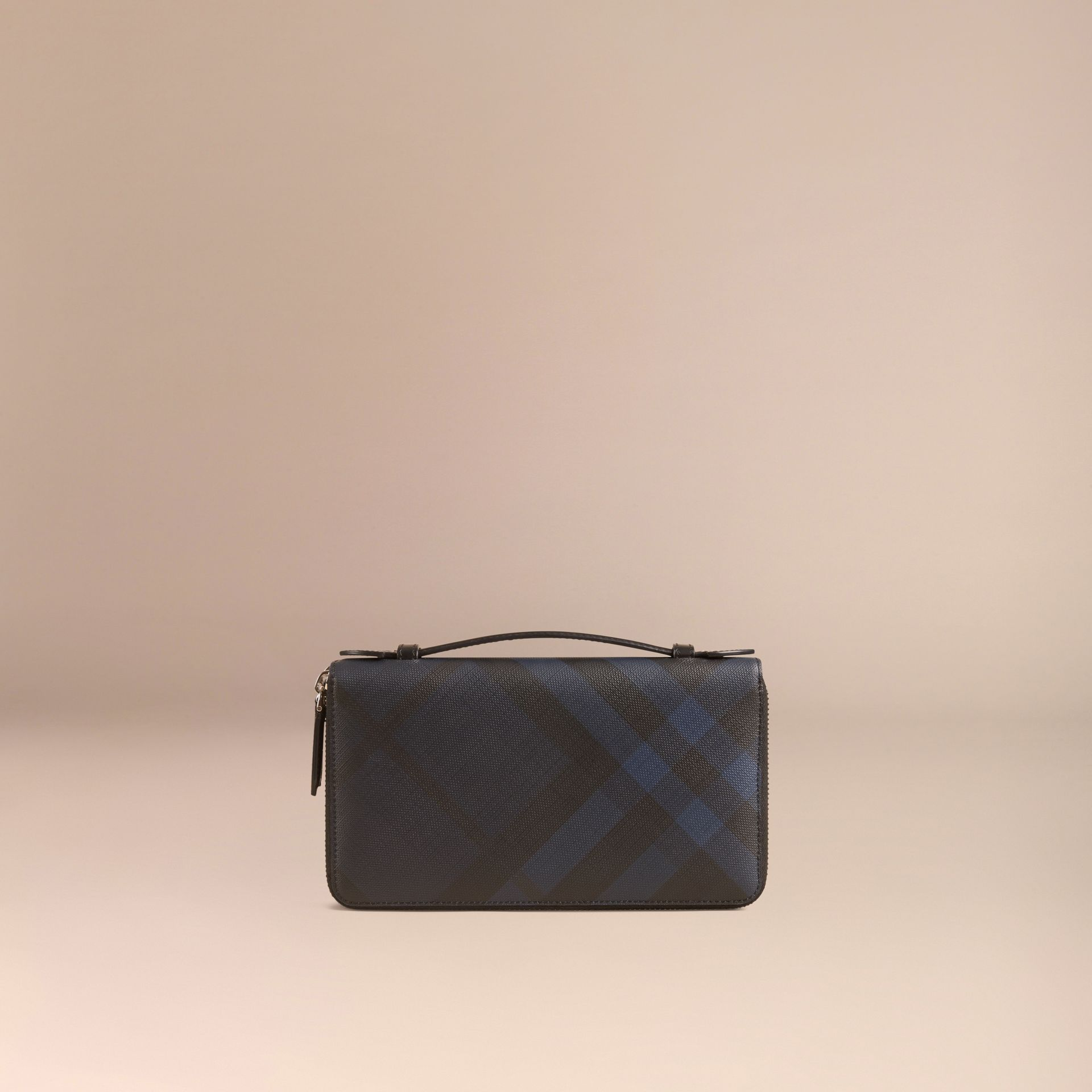 London Check Travel Wallet in Navy/black - gallery image 3