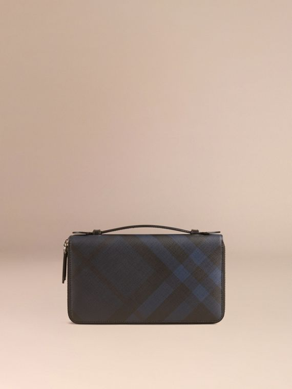London Check Travel Wallet in Navy/black - cell image 2