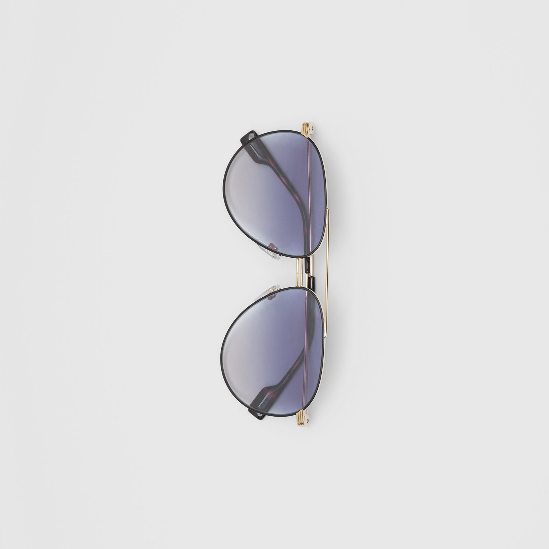 Top Bar Detail Pilot Sunglasses in Gold / Blue - Men | Burberry - gallery image 3