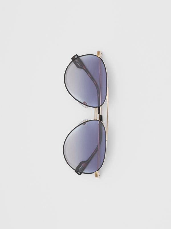 Top Bar Detail Pilot Sunglasses in Gold / Blue - Men | Burberry - cell image 3