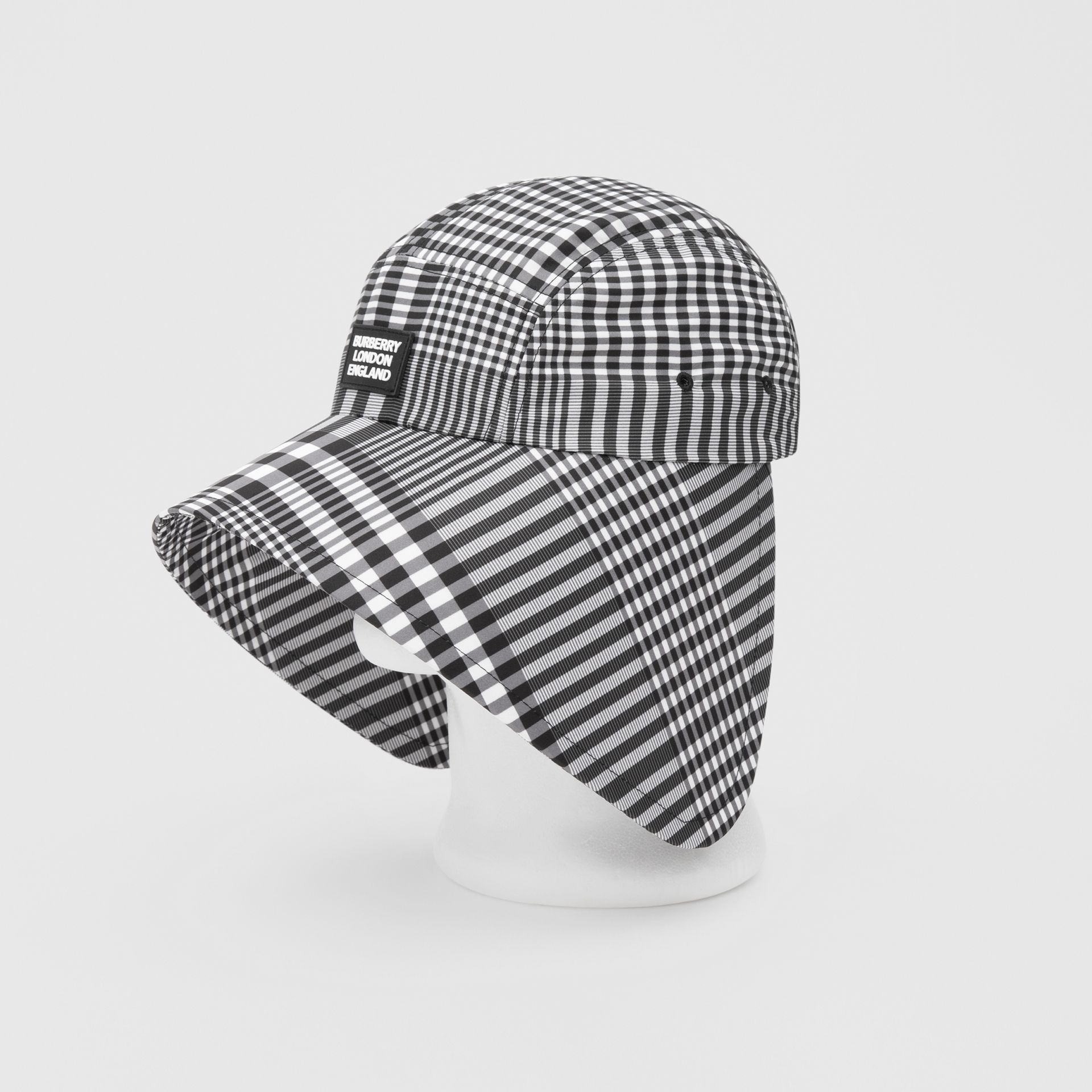 Logo Appliqué Check Bonnet Cap in Black/white | Burberry United Kingdom - gallery image 7