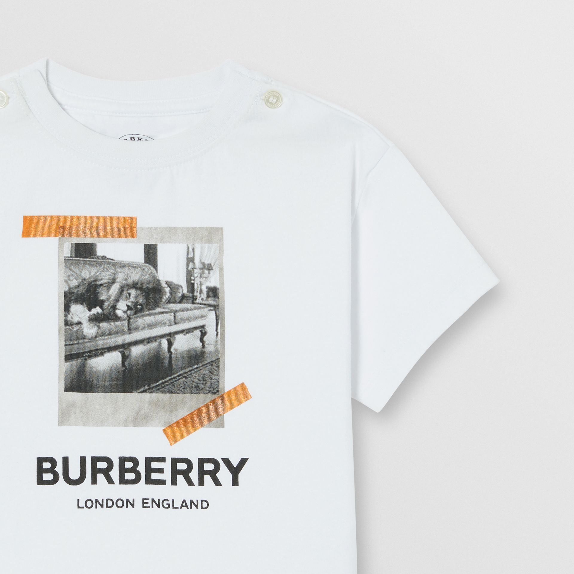 Vintage Polaroid Print Cotton T-shirt in White - Children | Burberry United Kingdom - gallery image 4