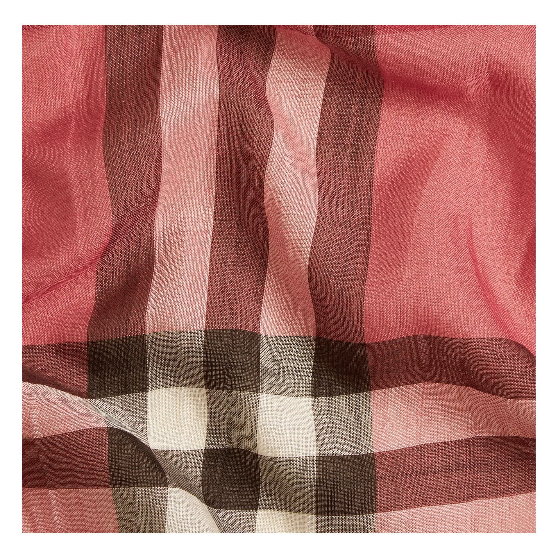 Blush pink Lightweight Check Wool and Silk Scarf Blush Pink - gallery image 3