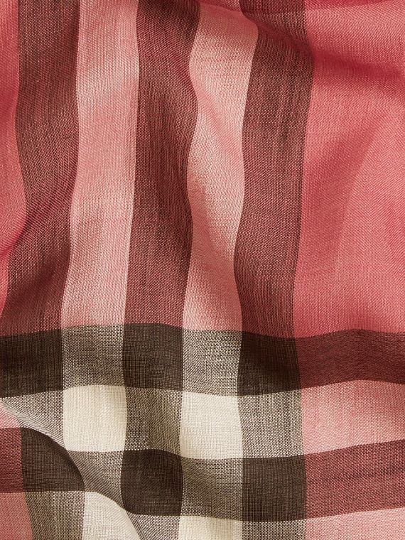 Blush pink Lightweight Check Wool and Silk Scarf Blush Pink - cell image 2