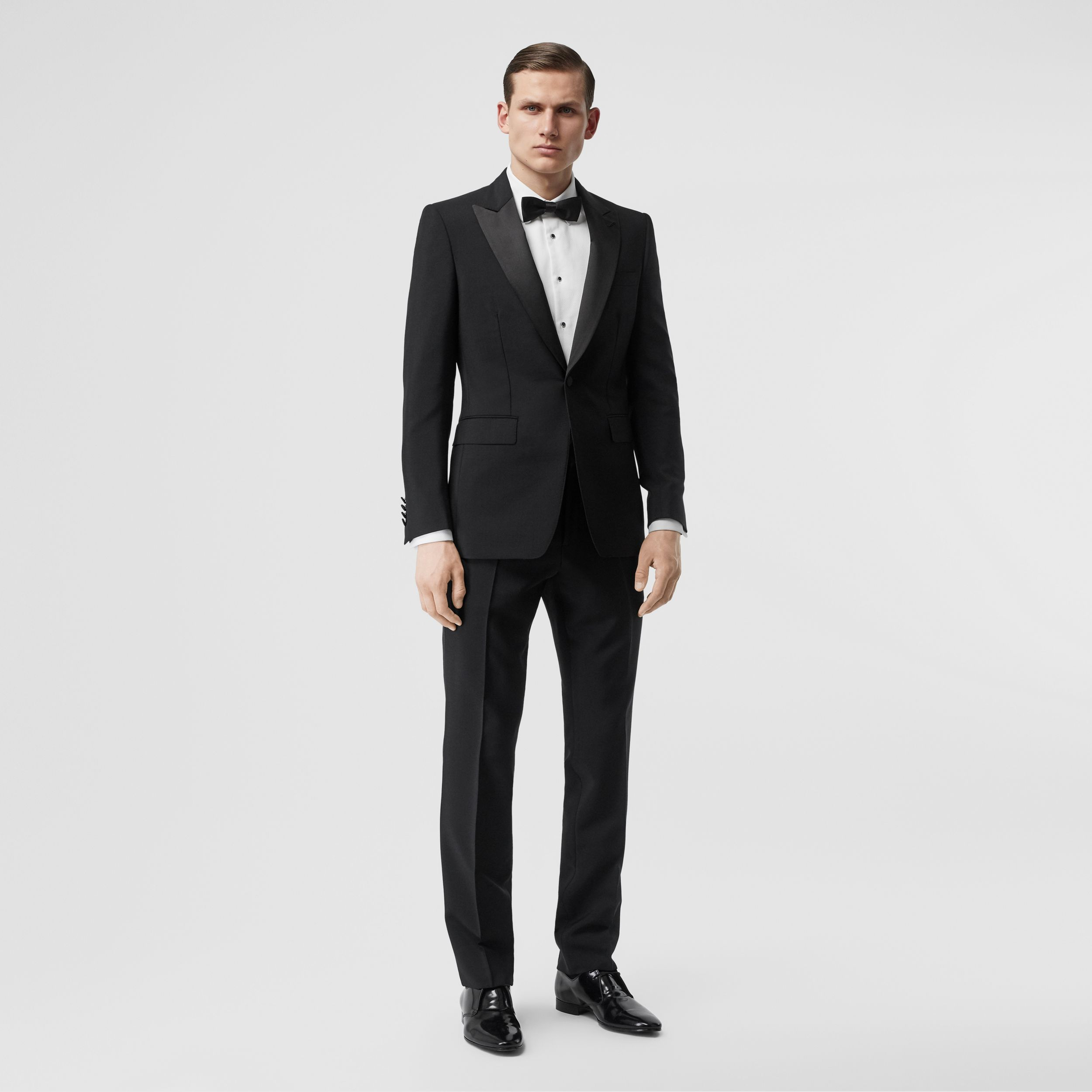 English Fit Mohair Wool Tuxedo in Black - Men | Burberry - 1