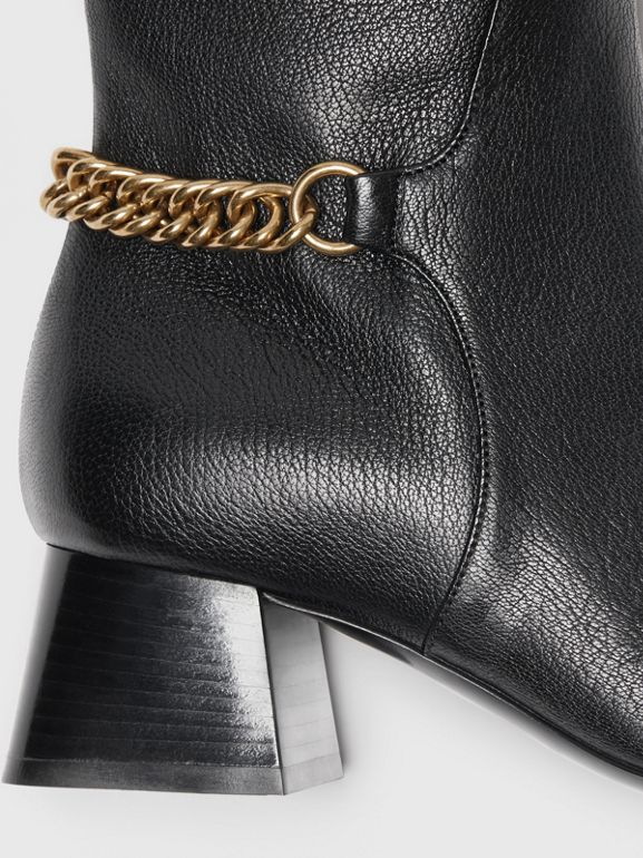 Link Detail Leather Knee-high Boots in Black - Women | Burberry - cell image 1
