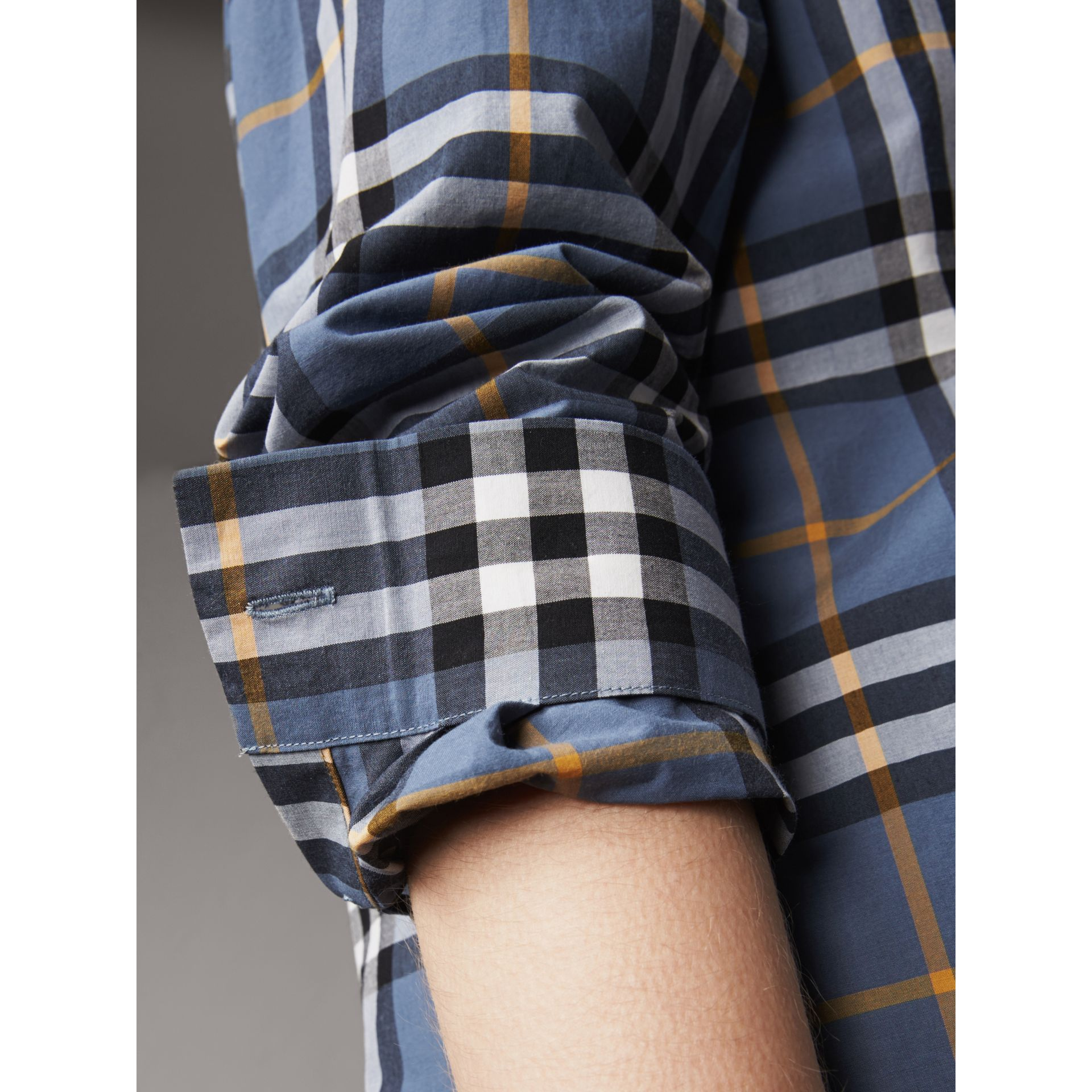 Lace Appliqué Check Cotton Shirt in Pewter Blue - Women | Burberry - gallery image 5