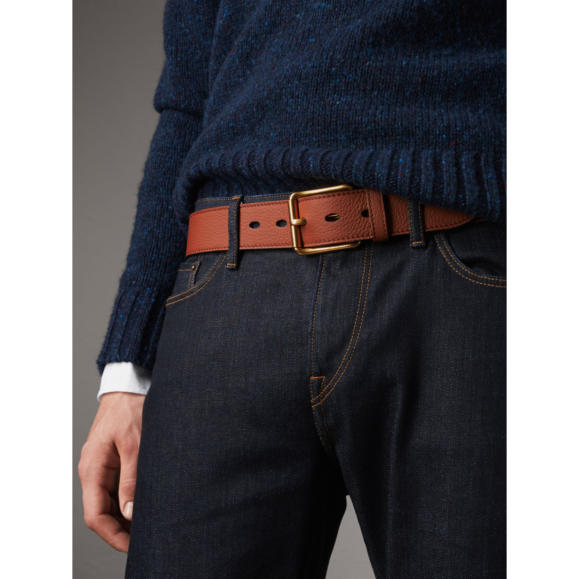 Grainy Leather Belt in Chestnut Brown - Men | Burberry United Kingdom - gallery image 2