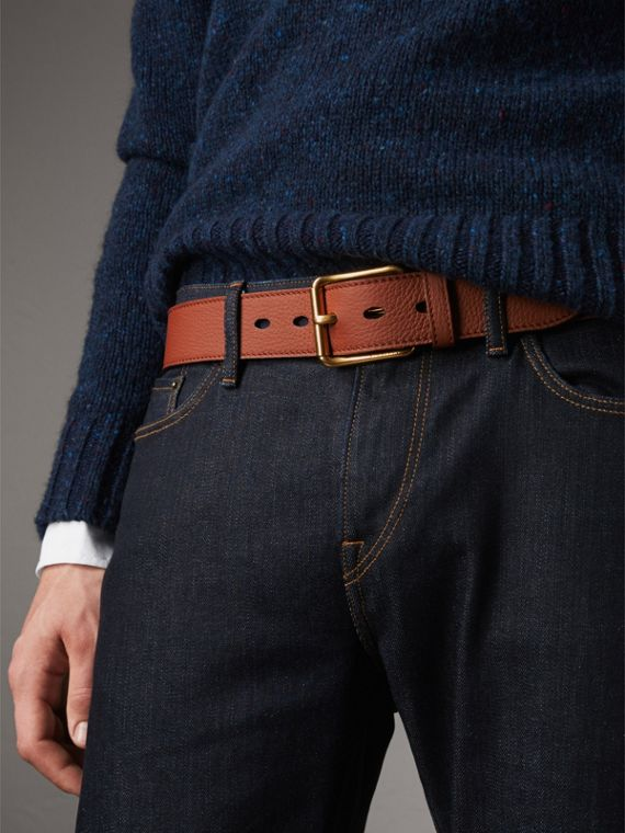 Grainy Leather Belt in Chestnut Brown - Men | Burberry Australia - cell image 2