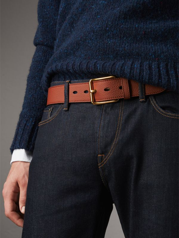 Grainy Leather Belt in Chestnut Brown - Men | Burberry - cell image 2