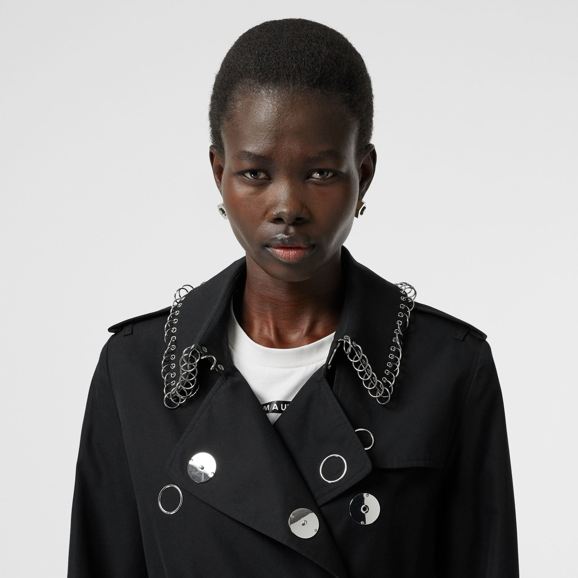 Ring-pierced Cotton Gabardine Trench Coat in Black - Women | Burberry - gallery image 1