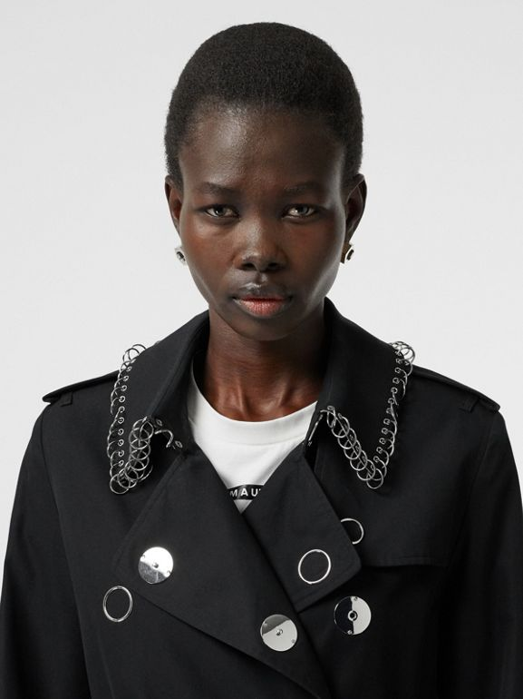 Ring-pierced Cotton Gabardine Trench Coat in Black - Women | Burberry - cell image 1
