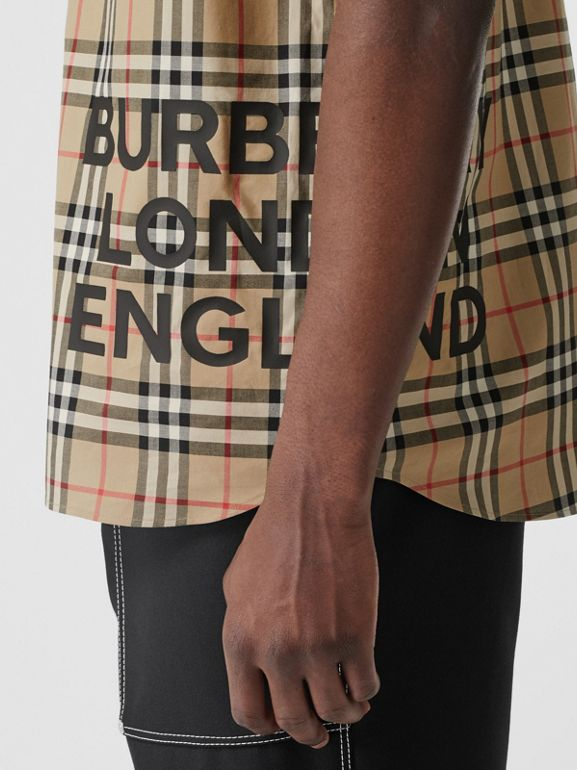 Short-sleeve Vintage Check Cotton Oversized Shirt in Archive Beige - Men | Burberry - cell image 1