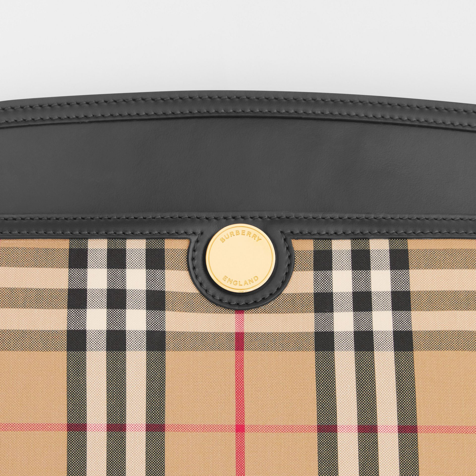 Vintage Check and Leather Society Clutch in Archive Beige - Women | Burberry - gallery image 1