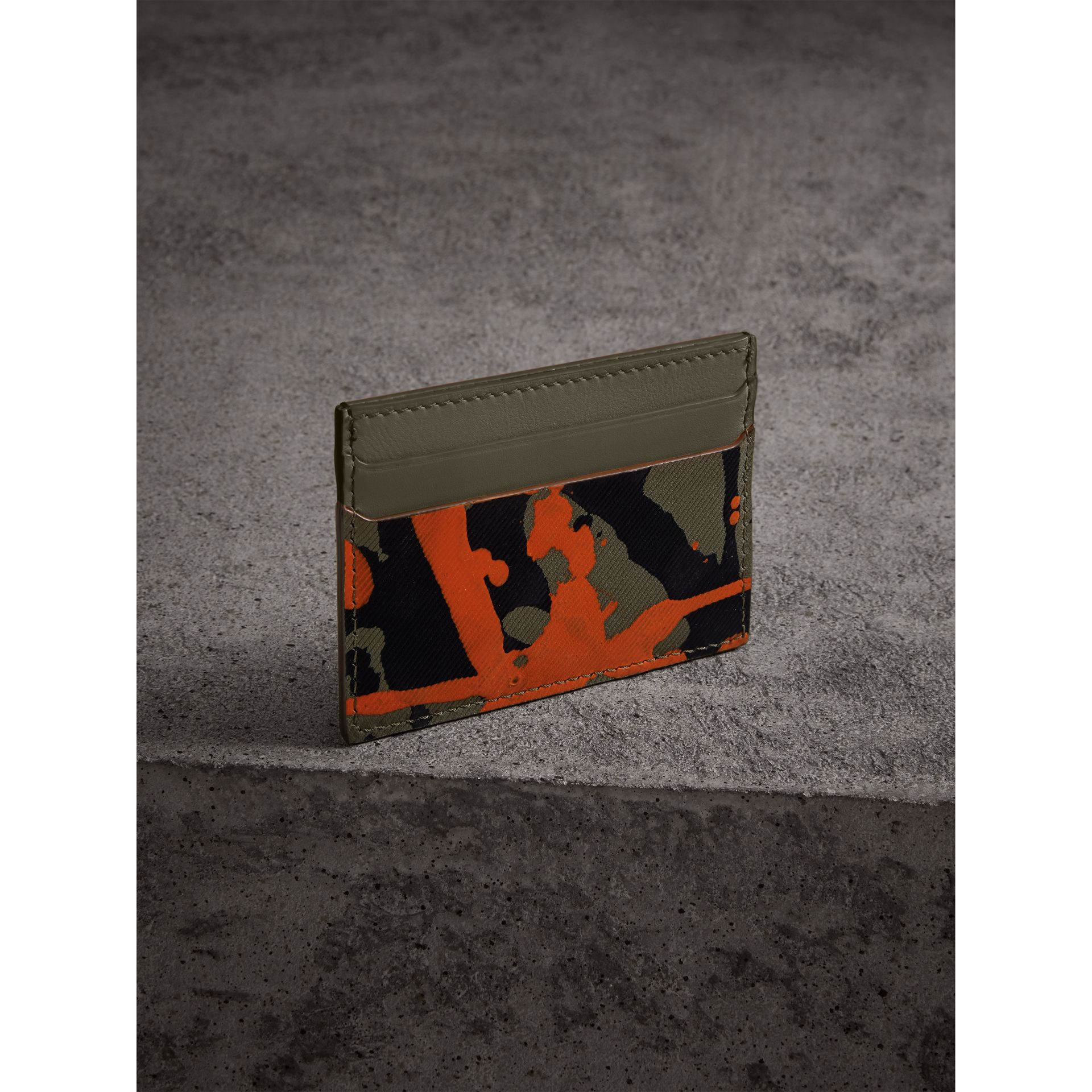 Splash Trench Leather Card Case in Slate Green/splash - Men | Burberry Singapore - gallery image 2