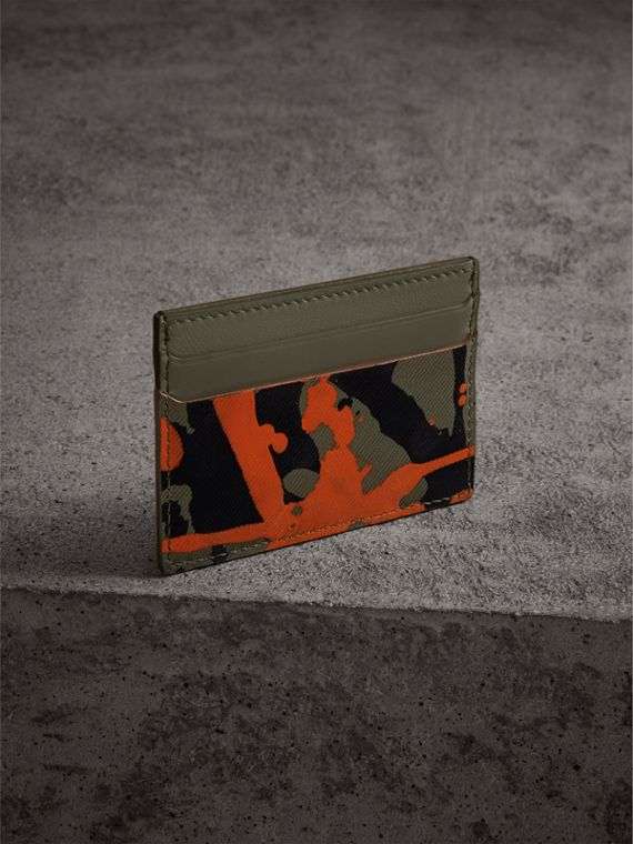 Splash Trench Leather Card Case in Slate Green/splash - Men | Burberry Singapore - cell image 2