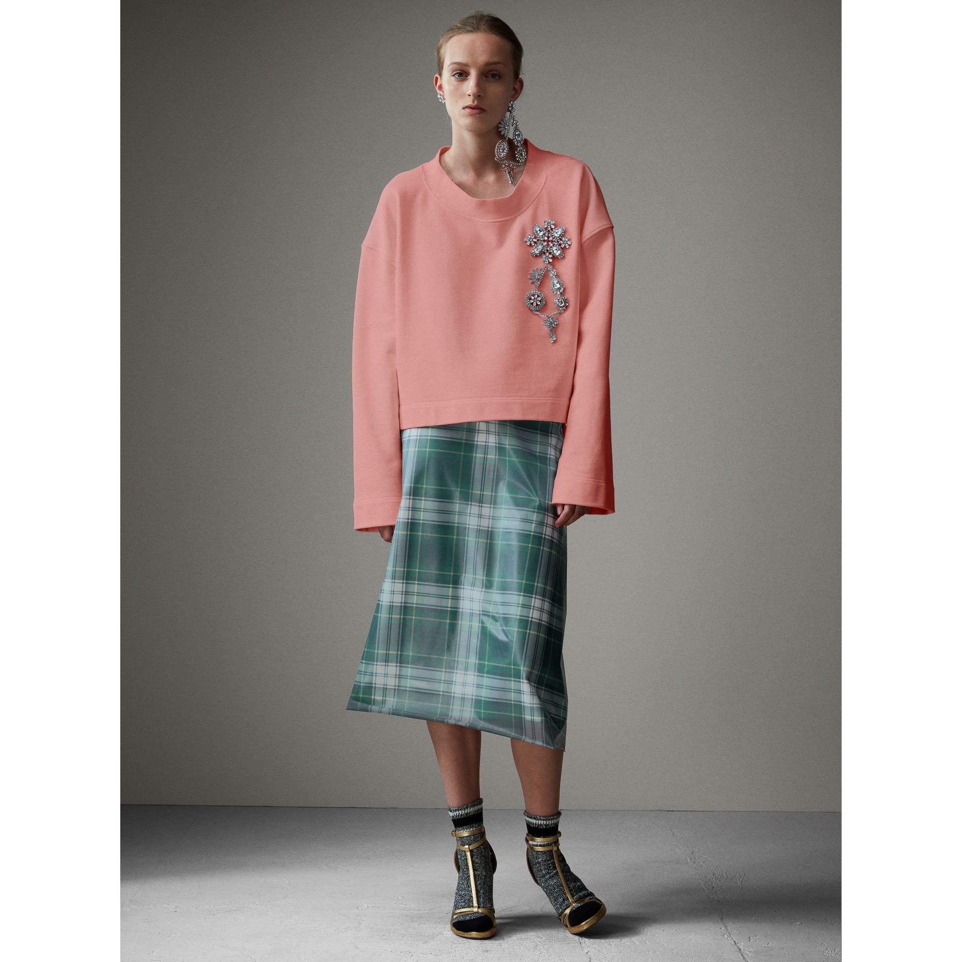 Cropped Sweatshirt with Crystal Brooch in Vintage Rose - Women | Burberry United Kingdom - gallery image 5