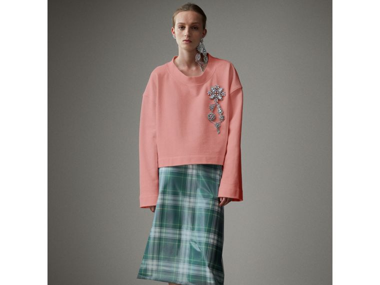 Cropped Sweatshirt with Crystal Brooch in Vintage Rose - Women | Burberry Australia - cell image 4
