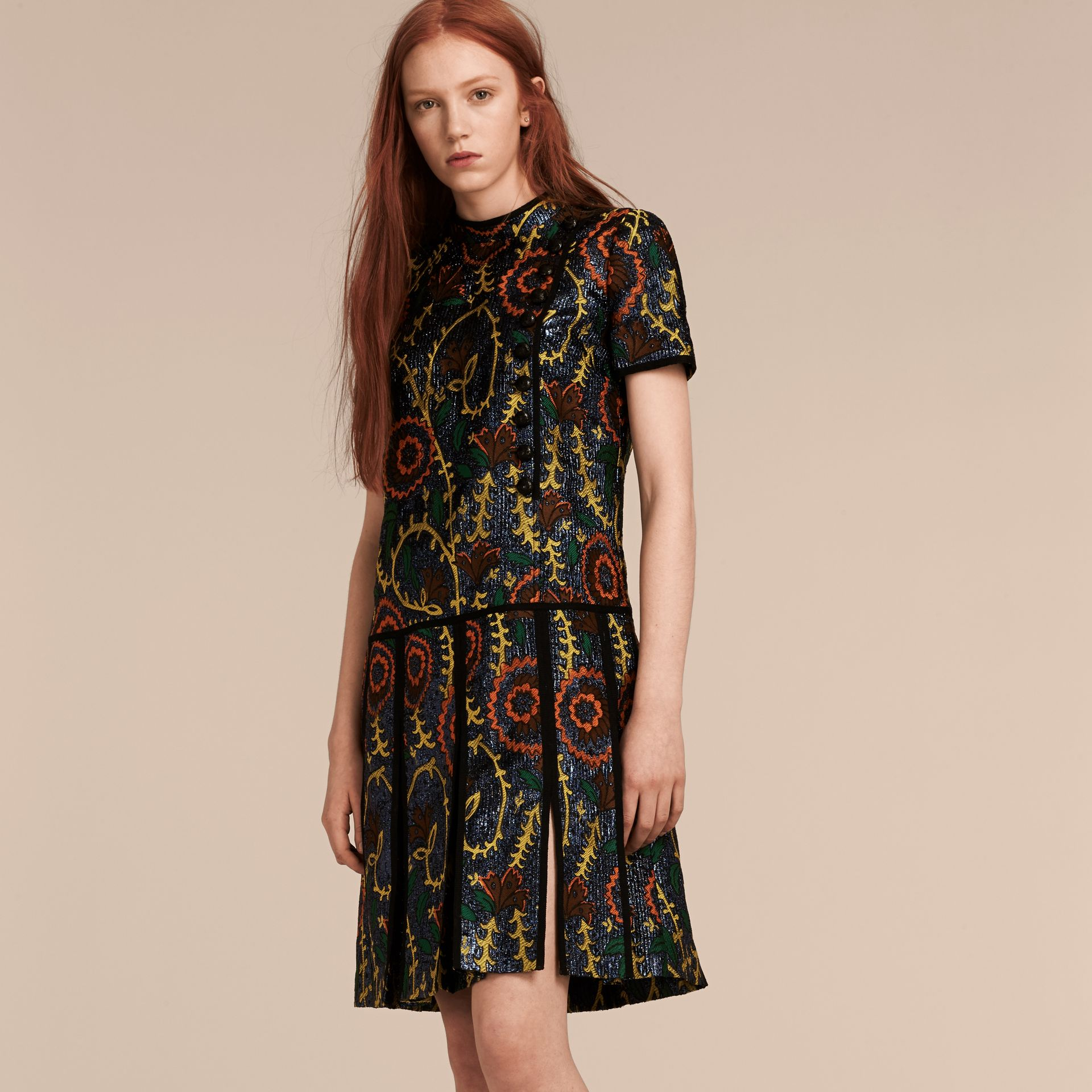 Bright navy Floral Jacquard Drop Waist Dress - gallery image 7