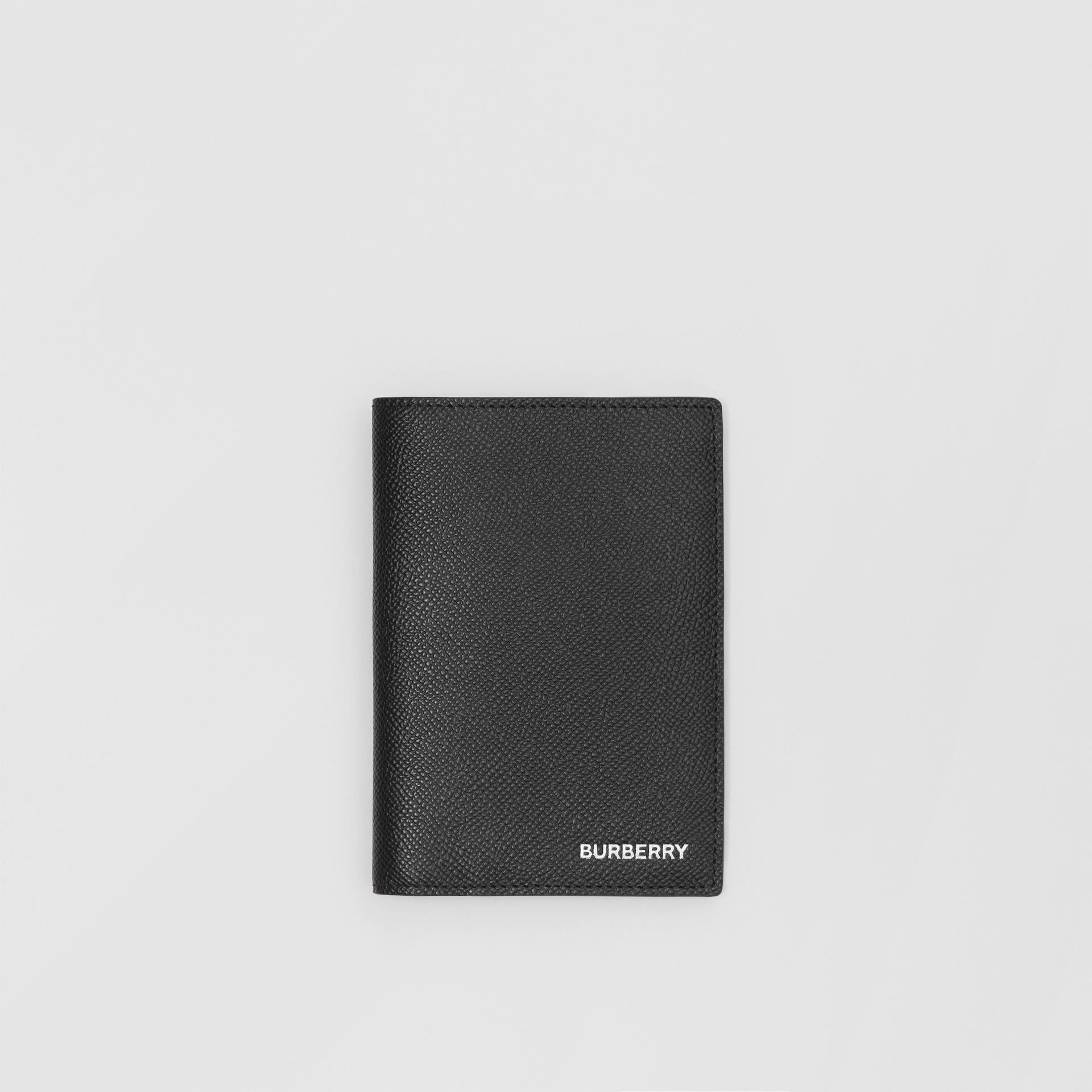 Grainy Leather Passport Holder in Black - Men | Burberry United States - gallery image 0